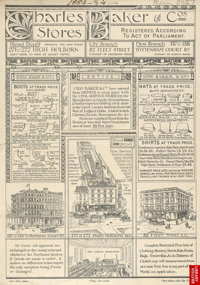 Advert For Charles Baker & Co, Clothing Stores